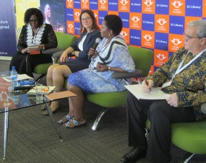 During a session titled The Importance of Supporting Emerging Researchers, chaired by Prof Xoliswa Mtose (far left), Vice-Chancellor and Principal at the University of Zululand, the NRF, DHET and ACU each presented their perspectives and also explained the interventions available within their organisations, in support of emerging researchers. 2nd from left is Dr Joanna Newman, ACU's CEO and Secretary-General; Dr Phethiwe Matutu, NRF's Group Executive, Strategy, Planning and Partnerships and Dr Whitty Green, DHET's Chief Director, University Education.